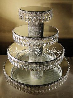 Crystal Cupcake stand - mirrors, bling pedestal, styrofoam and bling trim