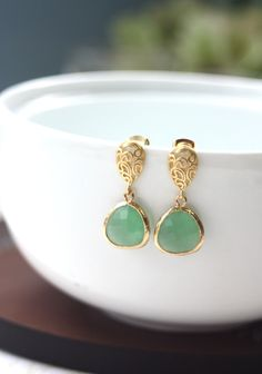A Jade Green Gold Plated Framed Glass Stone, Paisley Dangle Earrings. Bridesmaid Gifts, Bridal Earrings, Maid of Honor. For Sis Wedding.. $24.50, via Etsy.