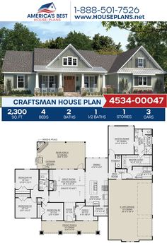 Crafted with exceptional Craftsman details, Plan 4534-00047 offers 2,300 sq. ft., 4 bedrooms, 2.5 bathrooms, split bedrooms, an open floor plan, a home office, and a mudroom. #craftsman #architecture #houseplans #housedesign #homedesign #homedesigns #architecturalplans #newconstruction #floorplans #dreamhome #dreamhouseplans #abhouseplans #besthouseplans #newhome #newhouse #homesweethome #buildingahome #buildahome #residentialplans #residentialhome