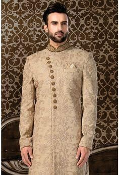 royal beige colour designer sherwani indowestern with with collar and buta work.To order whatsapp us whatsapp on Sherwani Groom, Mens Sherwani, Mens Indian Wear, Indian Groom Wear, Indian Men Fashion, Groom Fashion, Sherwani For Men Wedding, Pakistani Wedding Outfits, Sweatshirts