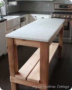 Reclaimed Wood Kitchen Island.  looking for something like this that I can roll dough on. -Laura