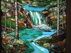 Big Sky Stained Glass - David Fjeld, artist.  Beautiful waterfall scene!