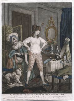 Call Number:  779.06.24.01+  Title:  An actress at her toilet, or, Miss Brazen just breecht from the original picture by John Collet, in the possession of Carington Bowles.  Related Title:  Miss Brazen just breecht  Published:  [London] : Printed for & sold by Carington Bowles ..., published as the act directs, 24 June 1779.    Lewis Walpole Library