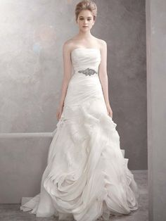 White by Vera Wang Style VW351011   Organza Fit and Flare Gown with Bias Flange Skirt