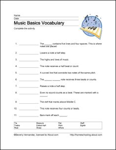 Learn Basic Musical Terms with These 10 Printouts: Music Basics Vocabulary