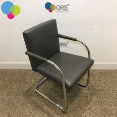 Vitra Grey Leather Meeting Chair Net Price Fully upholstered with real leather Square back Chrome Cantilever frame Grey leather padded arms Buy Used Furniture, Office Furniture, Used Chairs, Grey Leather, Accent Chairs, Chrome, Arms, Stuff To Buy, Home Decor