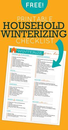 Free Printable Winterizing Checklist! Such a good idea!!!!!