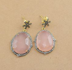 1 Pair 925 Sterling Silver Natural Pave Diamond Rose Quartz