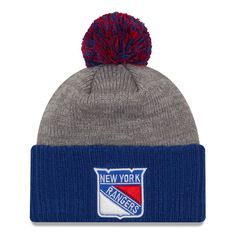8615deb9123d1 Men s New York Rangers New Era Gray Blue Flag Stated Cuffed Knit Hat with  Pom