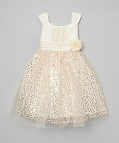 Look what I found on #zulily! Ivory & Gold Sparkle Bow Dress - Toddler & Girls by Rosenau Beck #zulilyfinds