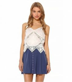 @Who What Wear - Kimchi Blue Knit Snap-Front Skater Skirt ($39)in Blue  Style this knit skirt with a pair of strappy gladiator sandals this weekend!
