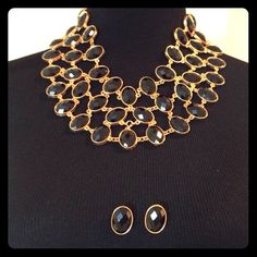 """Selling this """"Glamorous Black & Gold Statement Necklace Earrings"""" in my Poshmark closet! My username is: rjoneal. #shopmycloset #poshmark #fashion #shopping #style #forsale #Jewelry"""