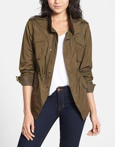 Cute! Studded army green anorak.