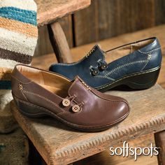 Ahhh, PillowTop™...Lofty memory foam footbeds are all buttoned up in these Softpots Halen Slip-On Shoes.