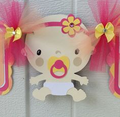 It's a girl baby shower banner pink yellow by NancysBannerBoutique,