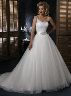 Charming Sleeveless Ball Gown Floor-length wedding dress.. id go strapless on this one