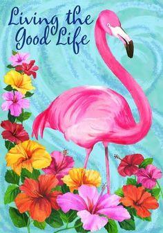 Living the Good Life Summer Garden Flag Flamingo Tropical x Flamingo Painting, Flamingo Decor, Flamingo Garden, Flamingo Gifts, Flamingo Rosa, Pink Flamingos, Flag Store, Flags For Sale, Garden Decor Items