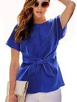 Женщины лето блузка 2015 женщин топы женщин блузки шифон рубашки Bownot свободного покроя рубашки Blusa Feminina с коротким рукавом девушку топы 14 S