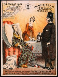 Male Patient Being Treated by Doctor, Dr. Wm. Hall's Balsam for the Lungs, Trade Card, circa 1900