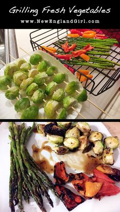 Grilling fresh veggies from the garden using skewers and a grill basket. Only takes a few minutes and tastes delicious! #NewEnglandGirl #Veggies