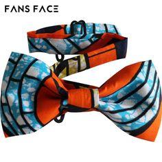 Men's Adjustable Bow Tie African Gentleman Wedding Party Bowknot Wax Print Orange Traditional African Clothing Accessories