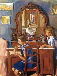 Zinaida Yevgenyevna Serebriakova (née Lanceray) (Russian painter) 1884 - 1967 Тата и Катя (У зеркала) (Tata and Katia (The Mirror)), 1917 tempera on paper 58 x 45 cm.
