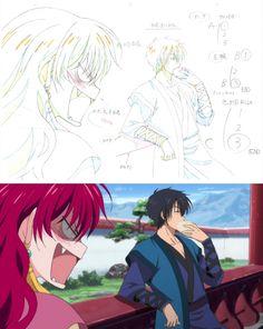 Akatsuki no Yona / Yona of the dawn anime and manga animation masks / key frames / sketches || Yona and Hak