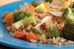 The recipe for Stir-Fried Brown Rice and Vegetables makes a satisfying, meatless meal.