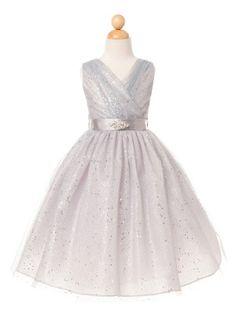 Silver Tulle Glitter V-Neck Flower Girl Dress (Available in Sizes 2-12 in 7 Colors)
