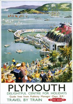 Inch Print - High quality print (other products available) - Poster, BR (WR), Plymouth Delightful Centre for Holidays, by Harry Riley - Image supplied by National Railway Museum - Photo Print made in the USA Posters Uk, Train Posters, Railway Posters, Poster Prints, Art Print, England Travel Poster, British Railways, British Travel, National Railway Museum