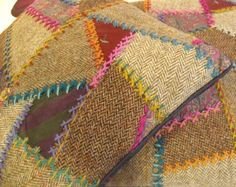 Memorial Crazy quilt pillows made out of ties/tweed jackets of deceased family member...
