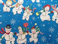 Vintage Christmas Wrapping Paper - Blue Christmas Snowman Family Snow Parade - 1…