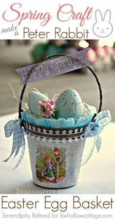 Spring Craft Peter Bunny Rabbit Easter Egg Basket