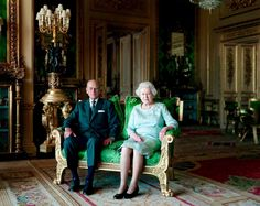 H.M. Queen Elizabeth II and her consort, H.R.H. Prince Philip, Duke of Edinburgh. In a 2011 portrait by American photographer, Annie Leibovitz.