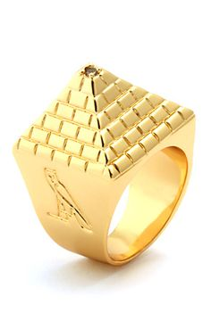 02bc030bb8c King Ice 14K Gold Egyptian Pyramid Ring by King Ice Mens Gold Rings