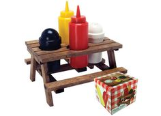 Mini Picnic Table Condiment Holder - This would be fun for camping.