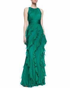 T7VP5 Badgley Mischka Collection Sleeveless Ruffle Skirt Gown, Emerald