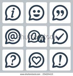 Symbols in speech bubbles vector icon set: info, smile, quotation, e-mail, FAQ, checkmark, question mark, heart, exclamation mark