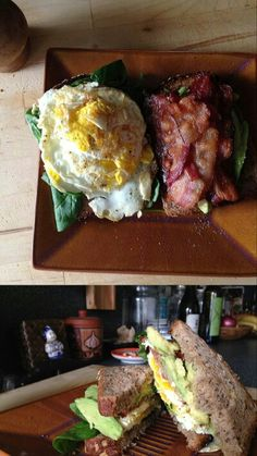 Malata Cuisine  breakfast sandwich: coconut butter, 7 grain bread, spinach, avocado, fried egg ( well done), Applewood smoked organic bacon ... Working on the vegetarian and vegan version Spinach, Bacon, Avocado, Sandwiches, Coconut, Butter, Eggs, Vegetarian, Beef