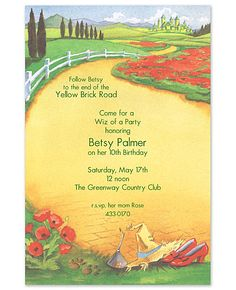 Wizard of Oz invite.... Holly, look....for Reagan's party
