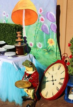 Love these decorations at an Alice in Wonderland party!  See more party ideas at CatchMyParty.com!