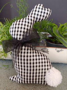 Buffalo Check Rabbit Farmhouse Easter Decor Easter Decor Fabric Rabbit Black and White Bunny Fabric Easter Bunny crafts fabric Easter Bunny Decorations, Easter Wreaths, Easter Centerpiece, Bunny Crafts, Easter Crafts, Fabric Decor, Fabric Crafts, Oster Dekor, Easter Fabric
