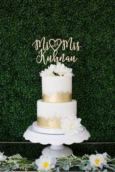 "Modern laser cut heart ""Mr. & Mrs."" personalized wedding cake topper by Let's Tie The Knot"