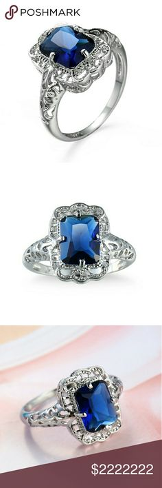 $35 Vintage style sim. Blue sapphire & silver ring COMING SOON IN SIZE 7 I MAY BE ABLE TO ORDER OTHER SIZES JUST COMMENT BELOW SIM. SAPPHIRE RING IN ALLOY BONDED TO STERLING SILVER DIPPED IN PLATINUM COMES WITH RING BOX  One of my new favorite pieces just so dainty and vintage looking  Really gorgeous deep sapphire color. Sherri Souza Boutique & Jewelry Jewelry Rings