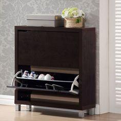 Baxton Studio Simms Modern Shoe Cabinet in Dark Brown