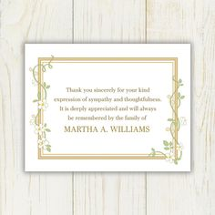Damask Funeral Thank You Card  Digital File  Choose Your Color