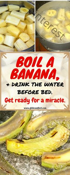 Boil Bananas Before Bed, Drink the Liquid and You Watch The Miracle Happen Boil … Fitness Health Remedies, Home Remedies, Natural Remedies, Banana Before Bed, Sante Plus, Natural Medicine, Holistic Medicine, Alternative Medicine, Water Before Bed