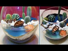 DIY terrarium with Boat in sea Decor Crafts, Diy And Crafts, Arts And Crafts, Boat Crafts, Succulent Terrarium, Terrarium Ideas, Cardboard Crafts, Ocean Art, Recycled Crafts