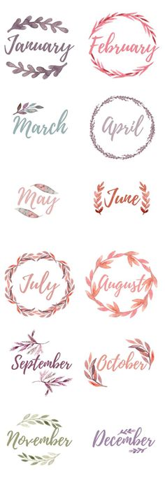 Bullet Journal Monthly Cover Pages. Water color floral wreaths with the months, blank wreaths for DIY lettering Printable Bullet Journal Monthly Cover Pages. Water colorPrintable Bullet Journal Monthly Cover Pages. Bullet Journal Inspo, Bullet Journal Ideas Pages, My Journal, Bullet Journal Water Tracker, Fitness Journal, Bullet Journal Months, Journal Fonts, Bullet Journal Printables, Bullet Journal Ideas Handwriting