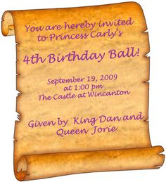 Make your own princess invitations